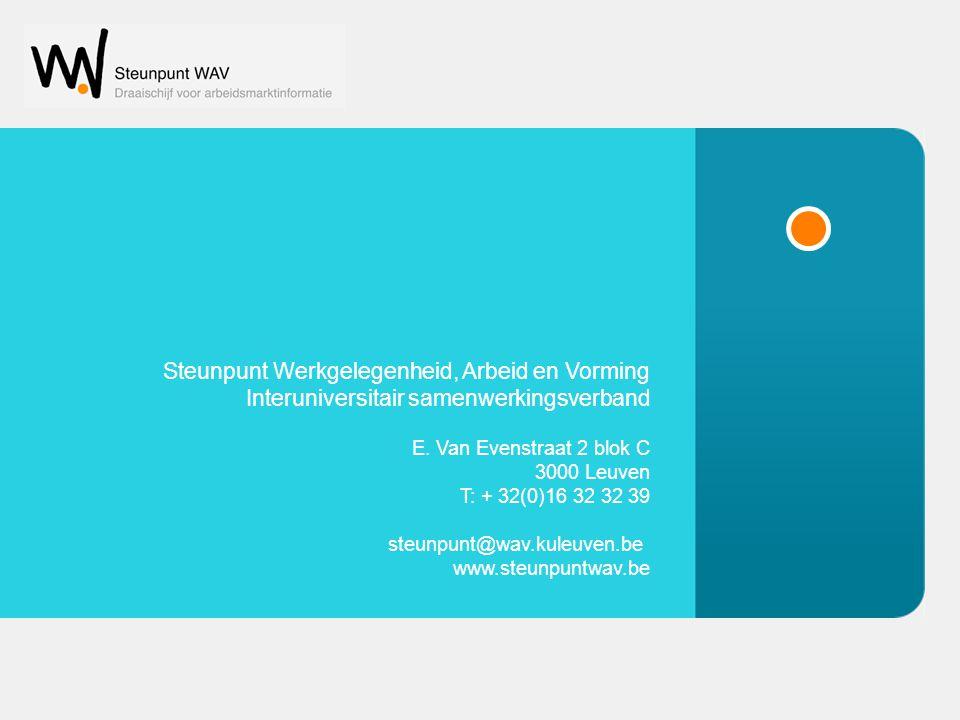 © Steunpunt WAV Steunpunt Werkgelegenheid, Arbeid en Vorming Interuniversitair samenwerkingsverband E. Van Evenstraat 2 blok C 3000 Leuven T: + 32(0)1
