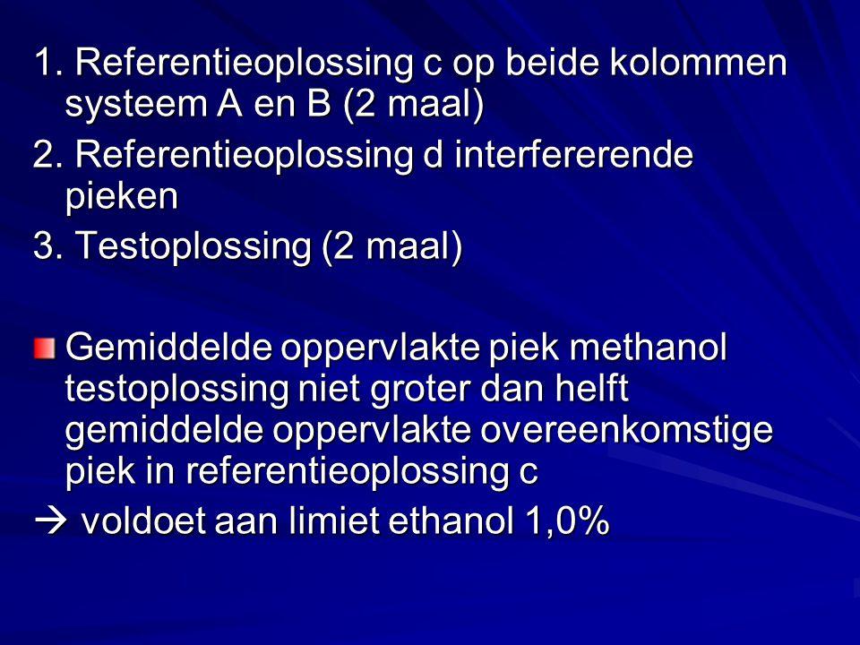 1. Referentieoplossing c op beide kolommen systeem A en B (2 maal) 2.