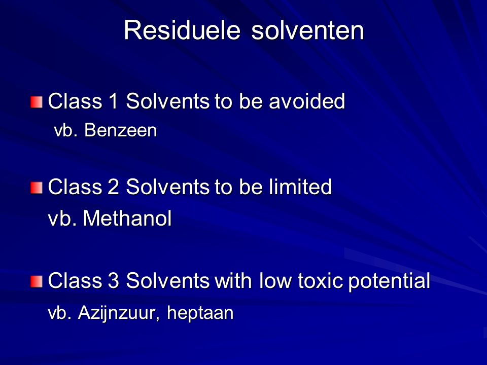Staalvoorbereiding 3 verschillende Sample preparations Afhankelijk van: - oplosbaarheid TOZ substanties - eventueel residuele solventen Gentamicinesulfaat freely soluble in water => preparation 1