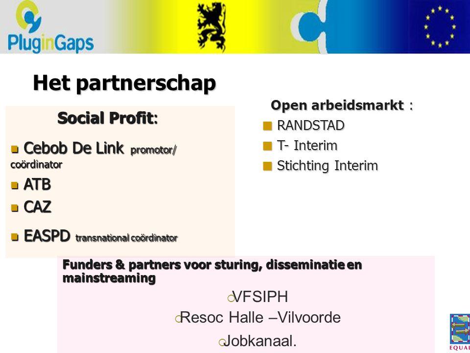 Het partnerschap Funders & partners voor sturing, disseminatie en mainstreaming  VFSIPH  Resoc Halle –Vilvoorde  Jobkanaal.
