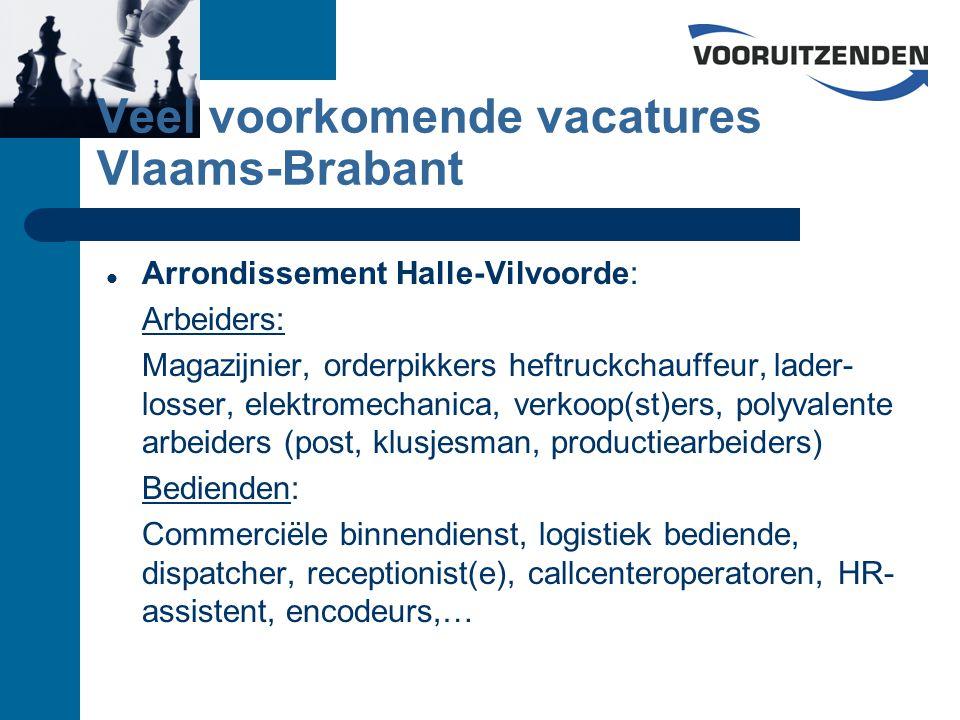 Veel voorkomende vacatures Vlaams-Brabant Arrondissement Halle-Vilvoorde: Arbeiders: Magazijnier, orderpikkers heftruckchauffeur, lader- losser, elektromechanica, verkoop(st)ers, polyvalente arbeiders (post, klusjesman, productiearbeiders) Bedienden: Commerciële binnendienst, logistiek bediende, dispatcher, receptionist(e), callcenteroperatoren, HR- assistent, encodeurs,…
