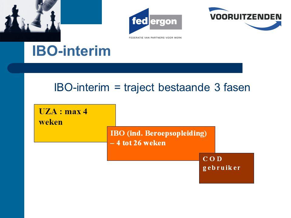 IBO-interim UZA : max 4 weken IBO-interim = traject bestaande 3 fasen