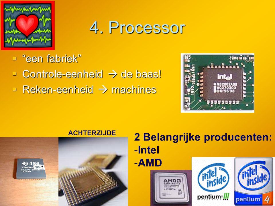 """4. Processor """"""""""""""""een fabriek"""" CCCControle-eenheid  de baas! RRRReken-eenheid  machines 2 Belangrijke producenten: -I-Intel -A-AMD ACHTER"""