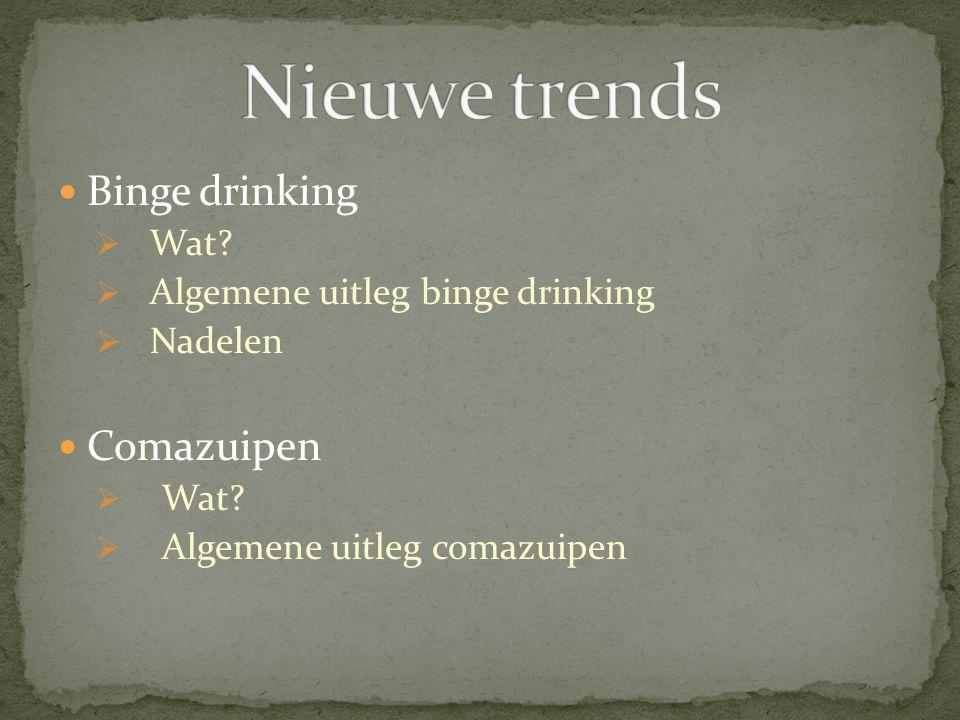 Binge drinking  Wat?  Algemene uitleg binge drinking  Nadelen Comazuipen  Wat?  Algemene uitleg comazuipen