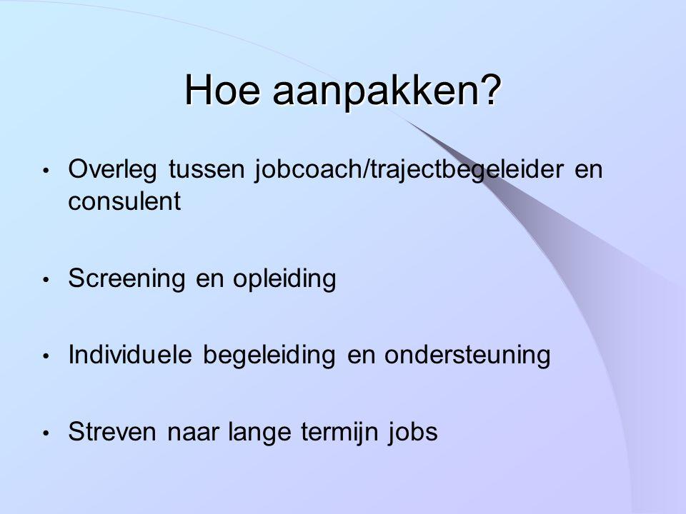 Overleg tussen jobcoach/trajectbegeleider en consulent Screening en opleiding Individuele begeleiding en ondersteuning Streven naar lange termijn jobs