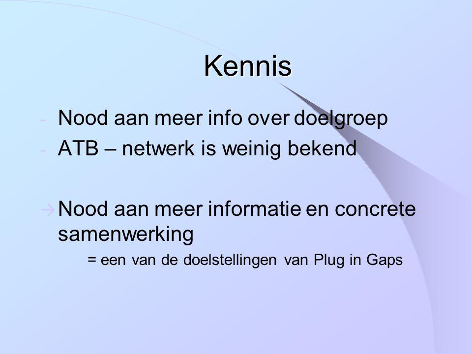 Kennis - Nood aan meer info over doelgroep - ATB – netwerk is weinig bekend  Nood aan meer informatie en concrete samenwerking = een van de doelstellingen van Plug in Gaps