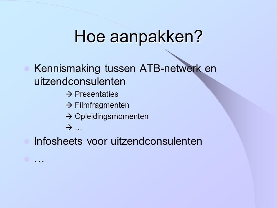 Kennismaking tussen ATB-netwerk en uitzendconsulenten  Presentaties  Filmfragmenten  Opleidingsmomenten  … Infosheets voor uitzendconsulenten …