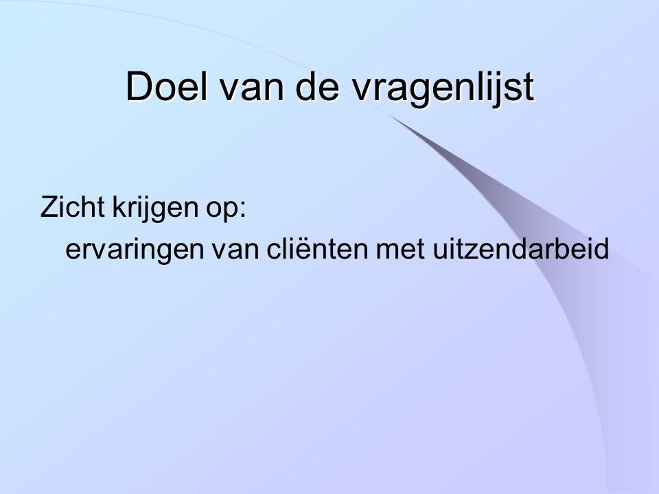 Steekproef totaal: ongeveer 90 cliënten in traject bij ATB, CGVB en/of CDL arbeidsbeperkingen regio Vlaams-Brabant