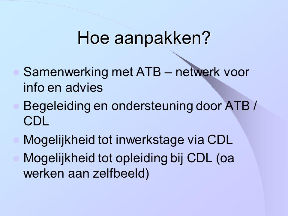 Samenwerking met ATB – netwerk voor info en advies Begeleiding en ondersteuning door ATB / CDL Mogelijkheid tot inwerkstage via CDL Mogelijkheid tot opleiding bij CDL (oa werken aan zelfbeeld)