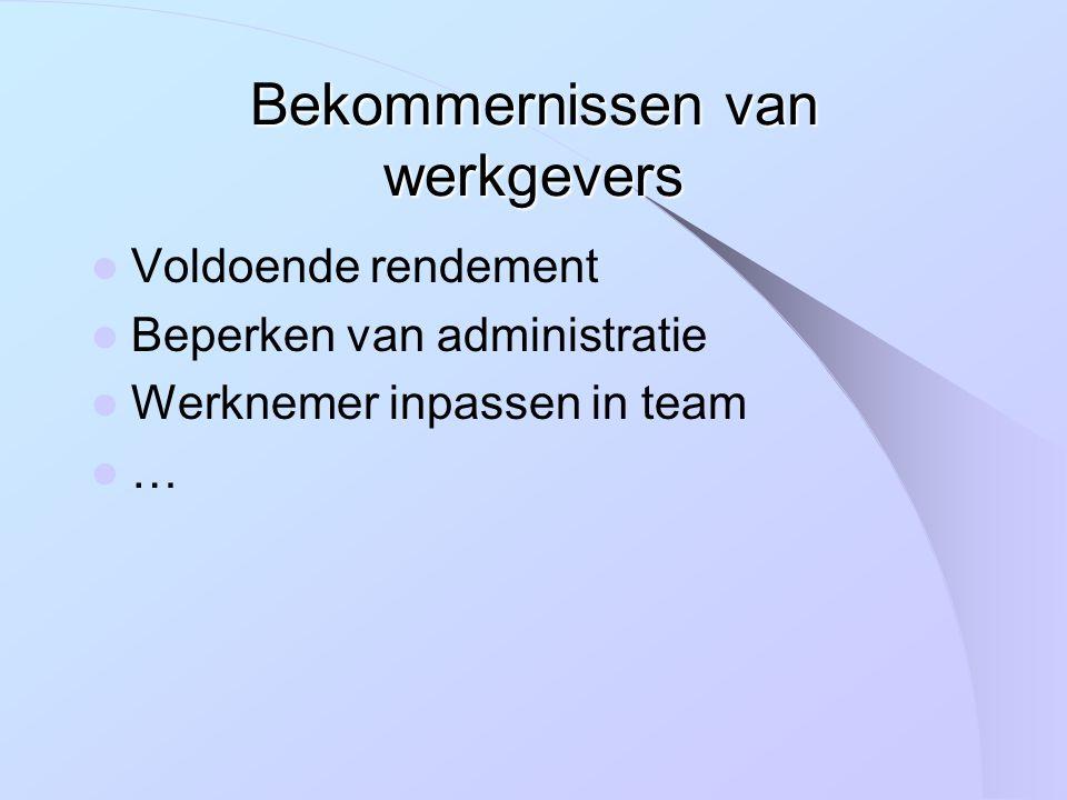 Bekommernissen van werkgevers Voldoende rendement Beperken van administratie Werknemer inpassen in team …