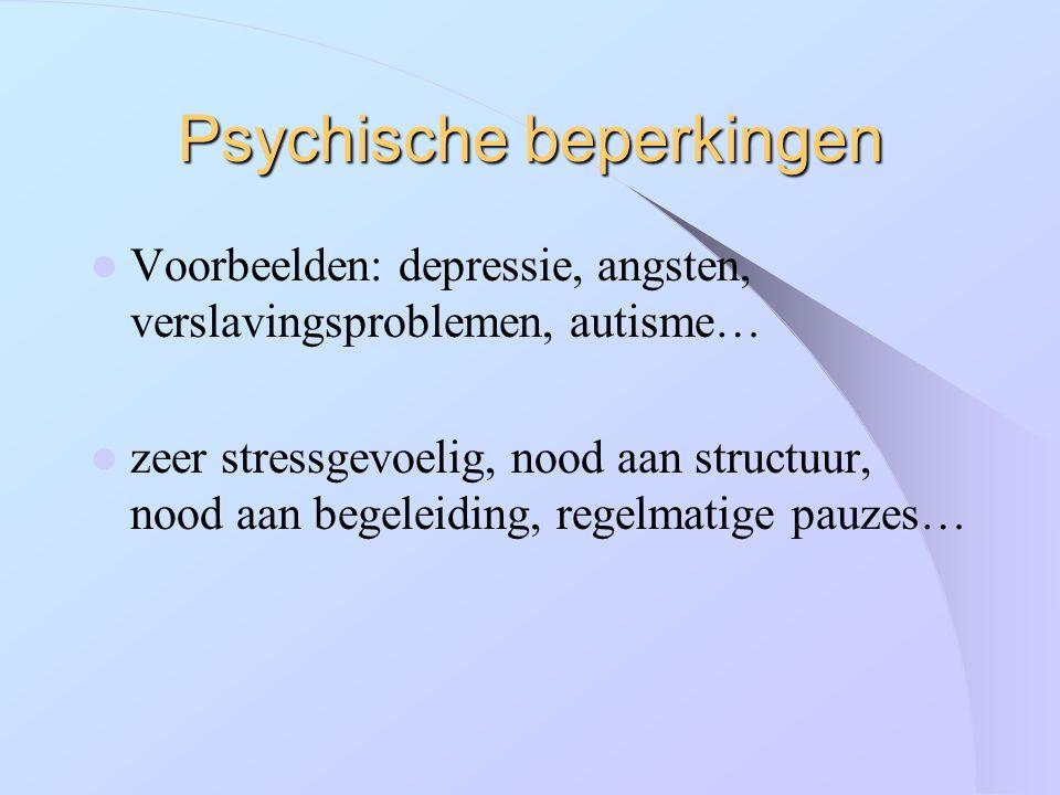 Psychische beperkingen Voorbeelden: depressie, angsten, verslavingsproblemen, autisme… zeer stressgevoelig, nood aan structuur, nood aan begeleiding,