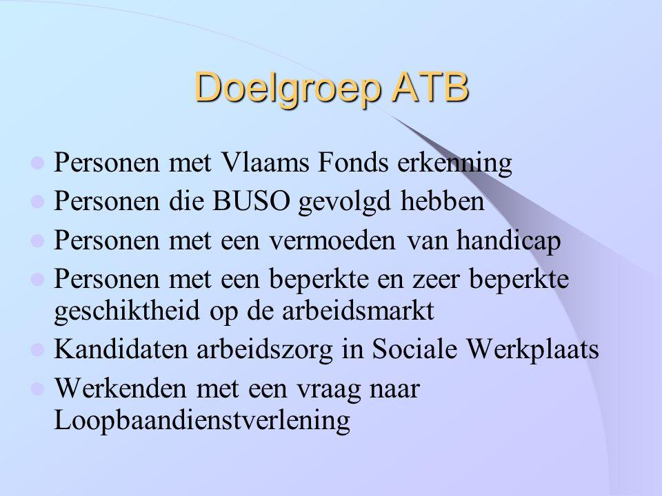 Doelgroep ATB Personen met Vlaams Fonds erkenning Personen die BUSO gevolgd hebben Personen met een vermoeden van handicap Personen met een beperkte e
