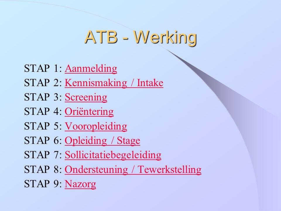 ATB - Werking STAP 1: AanmeldingAanmelding STAP 2: Kennismaking / IntakeKennismaking / Intake STAP 3: ScreeningScreening STAP 4: OriënteringOriënterin