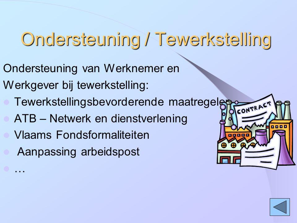 Ondersteuning / Tewerkstelling Ondersteuning van Werknemer en Werkgever bij tewerkstelling: Tewerkstellingsbevorderende maatregelen ATB – Netwerk en d