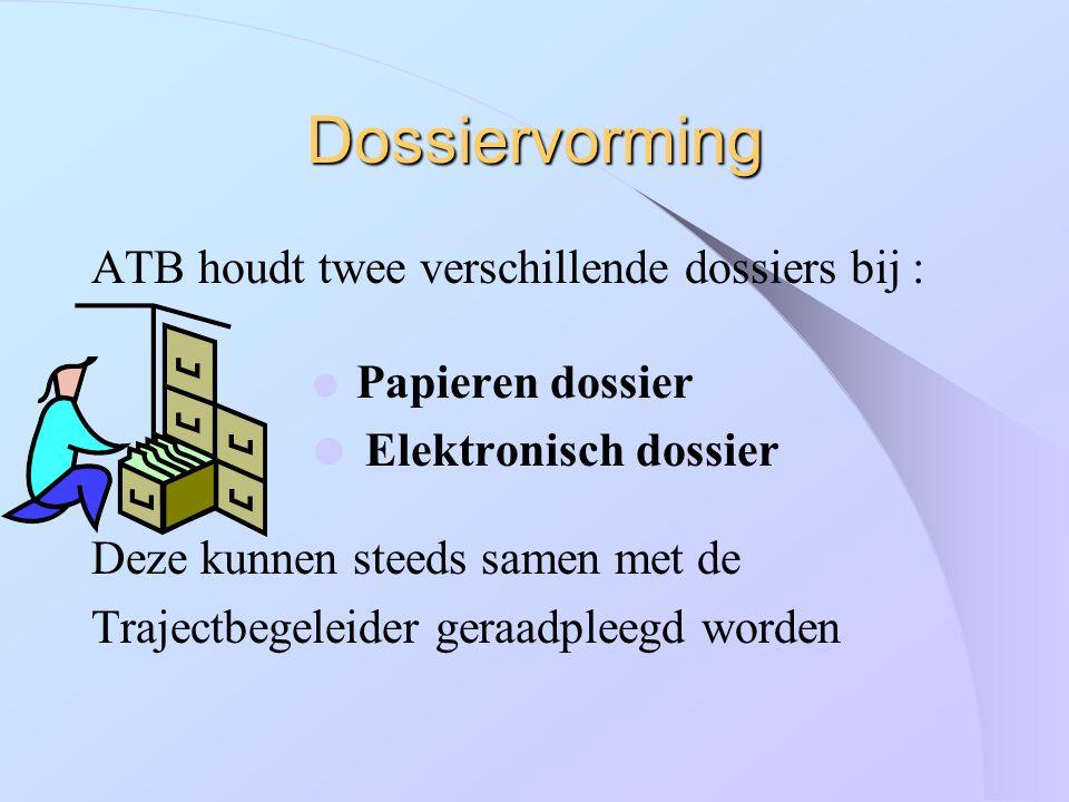 Dossiervorming ATB houdt twee verschillende dossiers bij :  Papieren dossier  Elektronisch dossier Deze kunnen steeds samen met de Trajectbegeleider