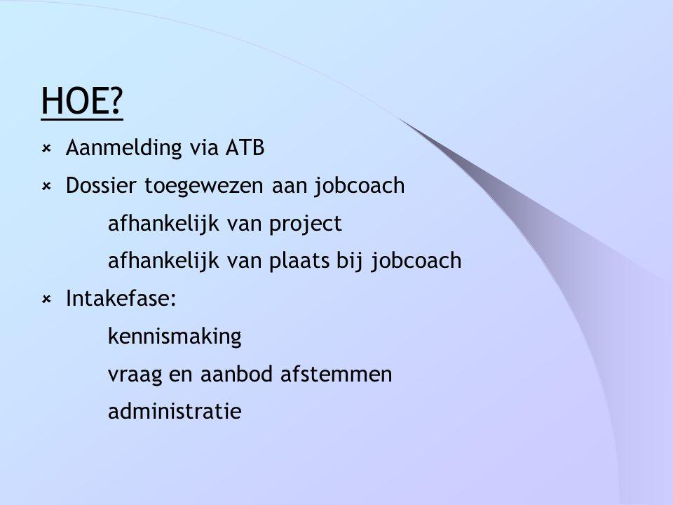 HOE?  Aanmelding via ATB  Dossier toegewezen aan jobcoach afhankelijk van project afhankelijk van plaats bij jobcoach  Intakefase: kennismaking vra