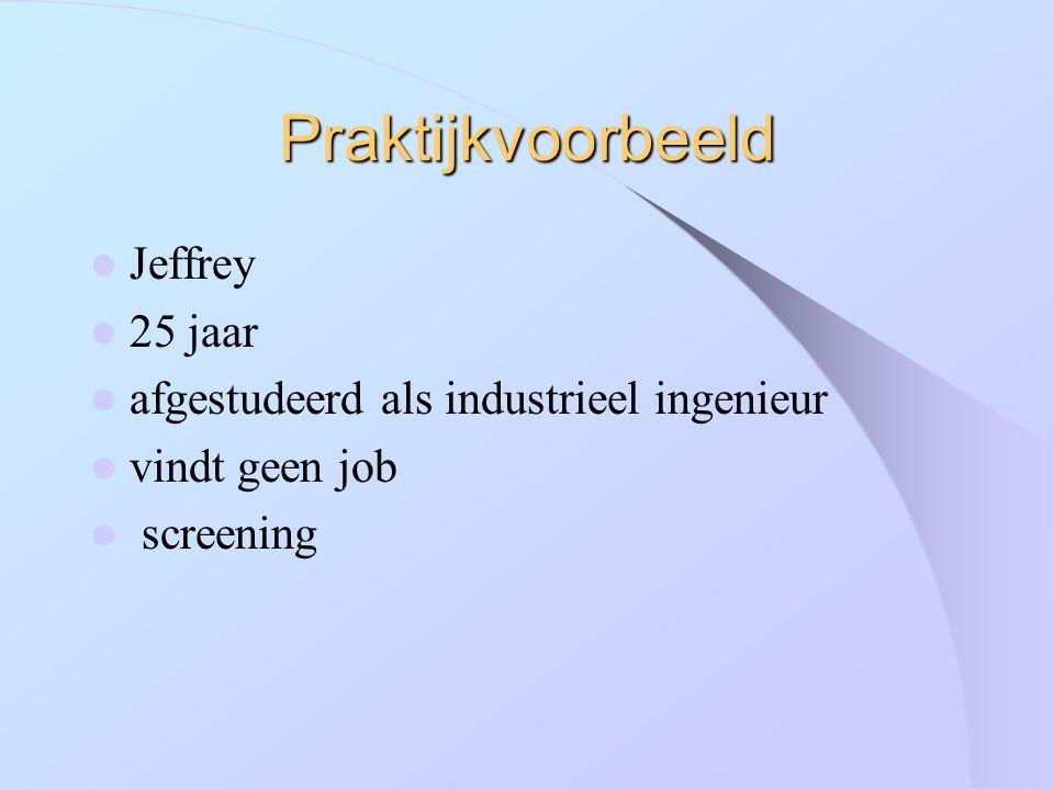 Praktijkvoorbeeld Jeffrey 25 jaar afgestudeerd als industrieel ingenieur vindt geen job screening