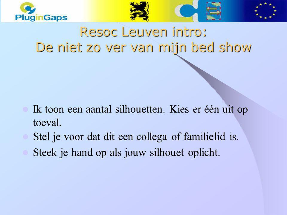 Resoc Leuven intro: De niet zo ver van mijn bed show Ik toon een aantal silhouetten.