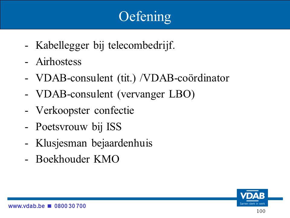 www.vdab.be 0800 30 700 100 Oefening -Kabellegger bij telecombedrijf. -Airhostess -VDAB-consulent (tit.) /VDAB-coördinator -VDAB-consulent (vervanger