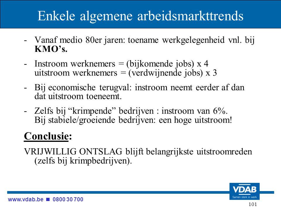 www.vdab.be 0800 30 700 101 Enkele algemene arbeidsmarkttrends -Vanaf medio 80er jaren: toename werkgelegenheid vnl. bij KMO's. -Instroom werknemers =
