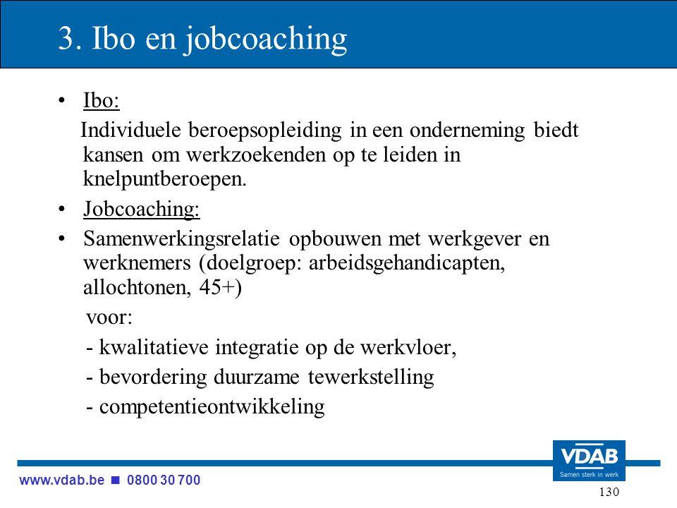 www.vdab.be 0800 30 700 130 3. Ibo en jobcoaching Ibo: Individuele beroepsopleiding in een onderneming biedt kansen om werkzoekenden op te leiden in k