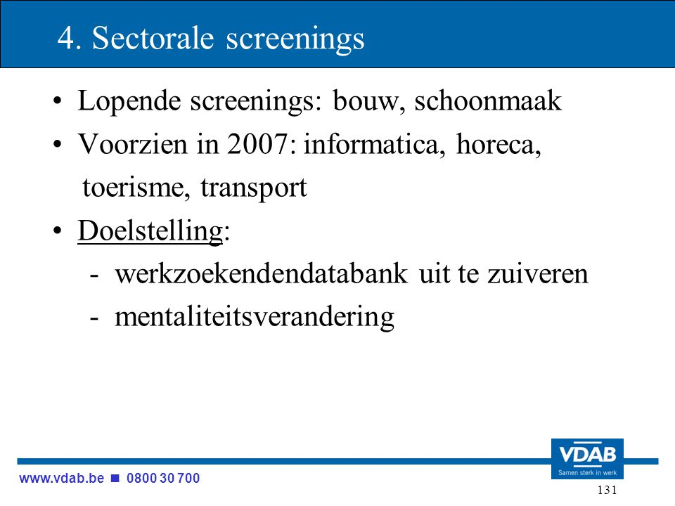 www.vdab.be 0800 30 700 131 4. Sectorale screenings Lopende screenings: bouw, schoonmaak Voorzien in 2007: informatica, horeca, toerisme, transport Do
