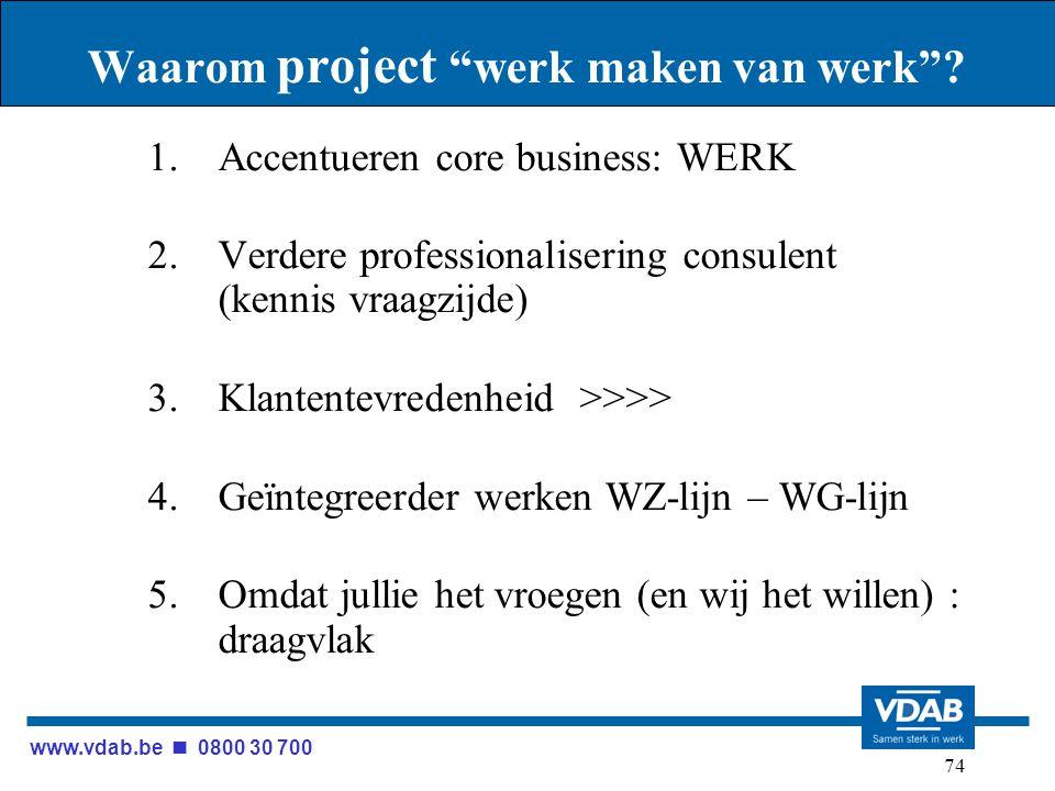 """www.vdab.be 0800 30 700 74 Waarom project """"werk maken van werk""""? 1.Accentueren core business: WERK 2.Verdere professionalisering consulent (kennis vra"""