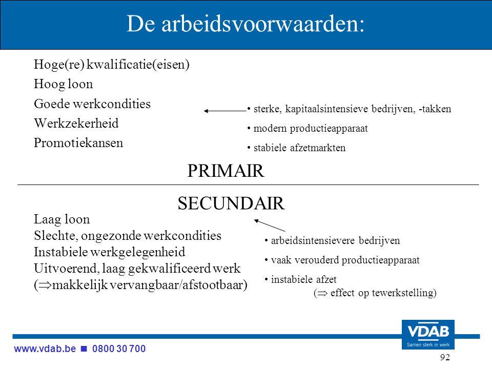 www.vdab.be 0800 30 700 92 De arbeidsvoorwaarden: Hoge(re) kwalificatie(eisen) Hoog loon Goede werkcondities Werkzekerheid Promotiekansen PRIMAIR ster