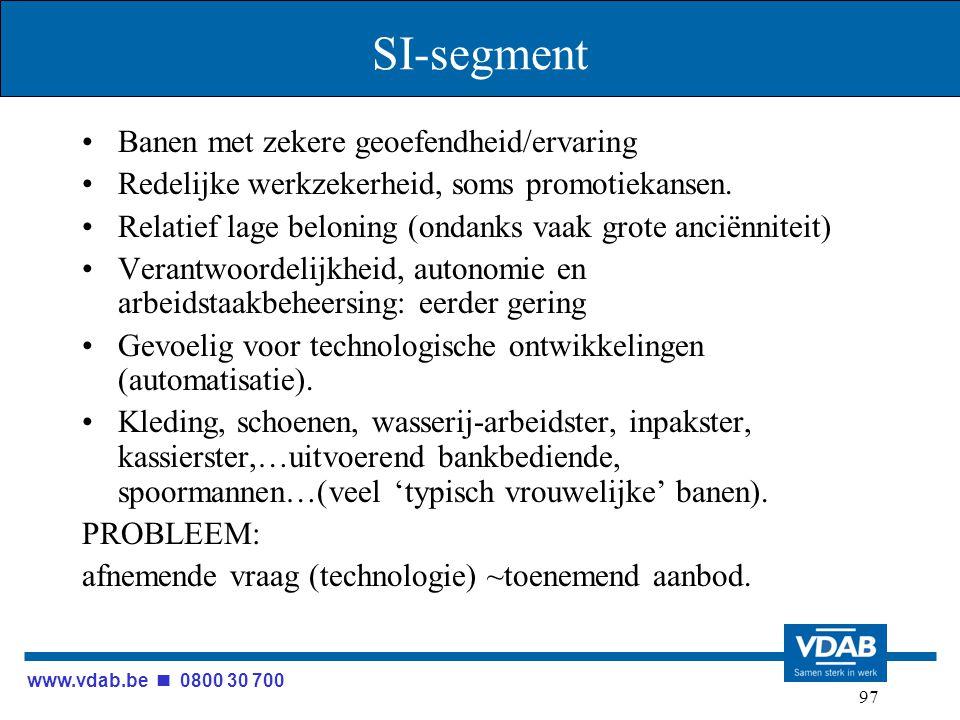www.vdab.be 0800 30 700 97 SI-segment Banen met zekere geoefendheid/ervaring Redelijke werkzekerheid, soms promotiekansen. Relatief lage beloning (ond