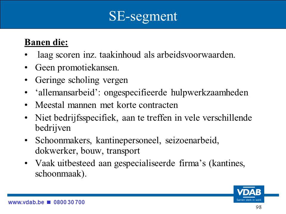 www.vdab.be 0800 30 700 98 SE-segment Banen die: laag scoren inz. taakinhoud als arbeidsvoorwaarden. Geen promotiekansen. Geringe scholing vergen 'all