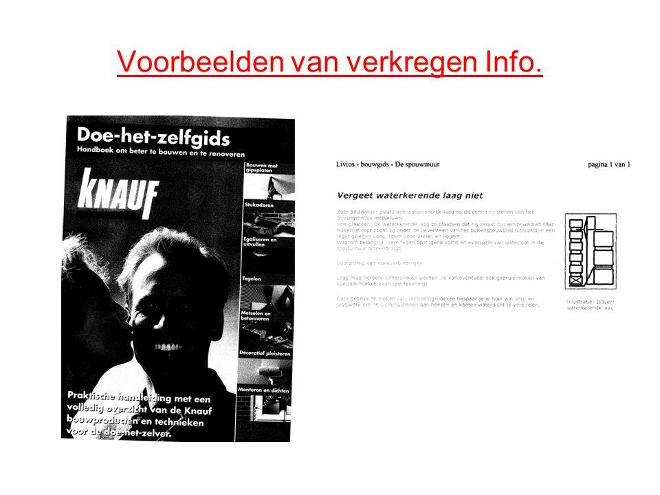 Voorbeelden van verkregen Info.