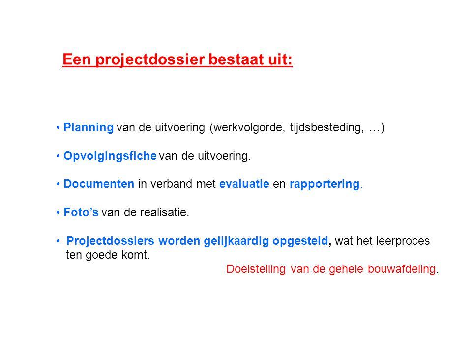 Planning van de uitvoering (werkvolgorde, tijdsbesteding, …) Opvolgingsfiche van de uitvoering.