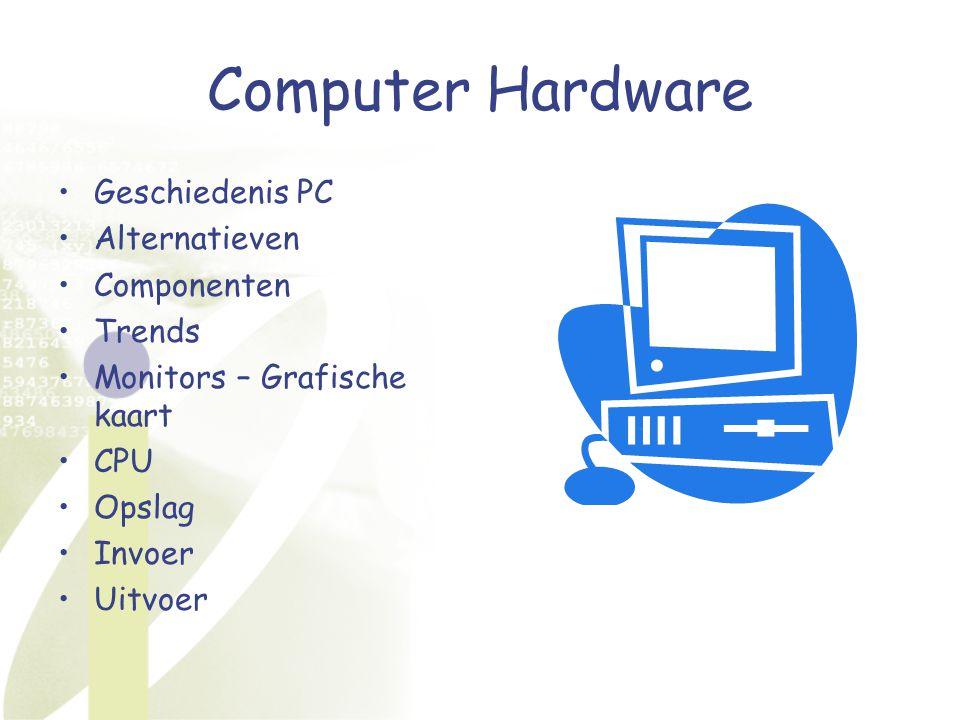 Computer Hardware Geschiedenis PC Alternatieven Componenten Trends Monitors – Grafische kaart CPU Opslag Invoer Uitvoer