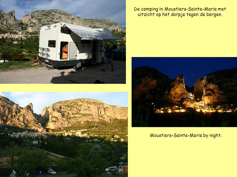 De camping in Moustiers-Sainte-Marie met uitzicht op het dorpje tegen de bergen.