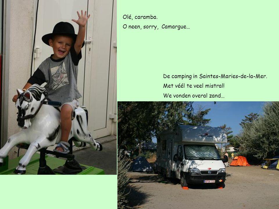 Olé, caramba. O neen, sorry, Camargue… De camping in Saintes-Maries-de-la-Mer. Met véél te veel mistral! We vonden overal zand…