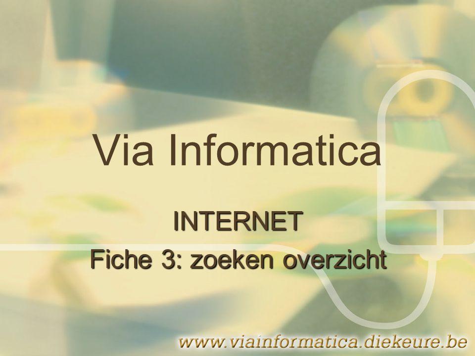Via Informatica INTERNET Fiche 3: zoeken overzicht