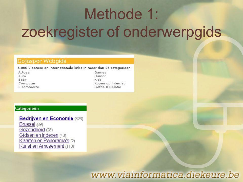 Methode 1: zoekregister of onderwerpgids