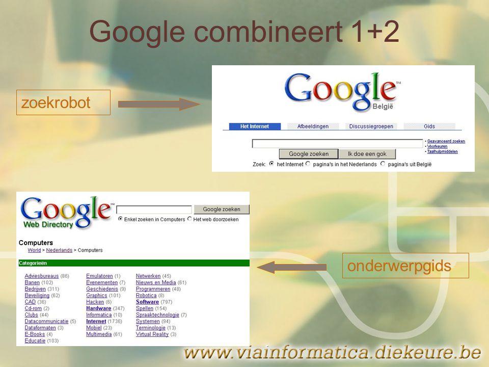 Google combineert 1+2 zoekrobot onderwerpgids