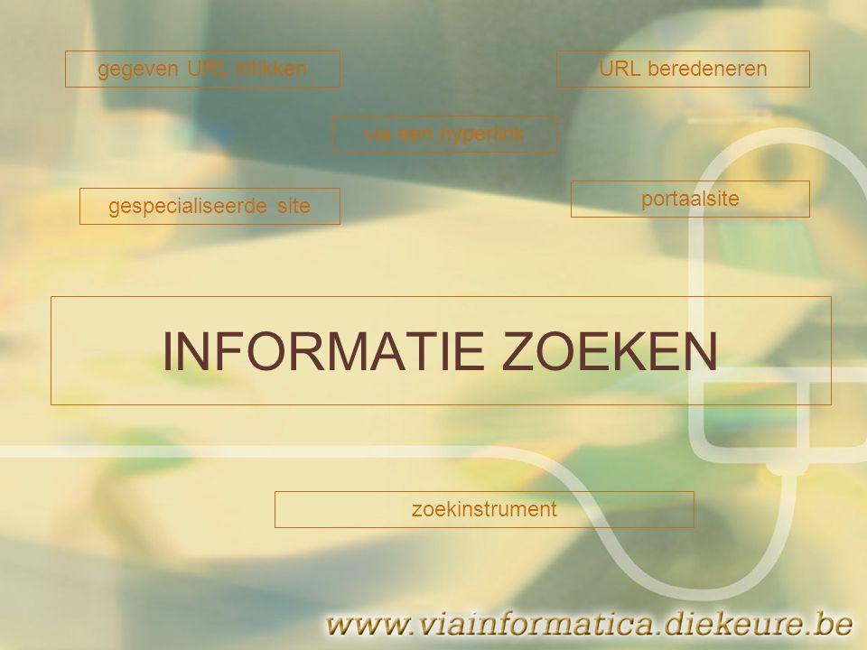 INFORMATIE ZOEKEN gegeven URL intikkenURL beredeneren via een hyperlink gespecialiseerde site portaalsite zoekinstrument