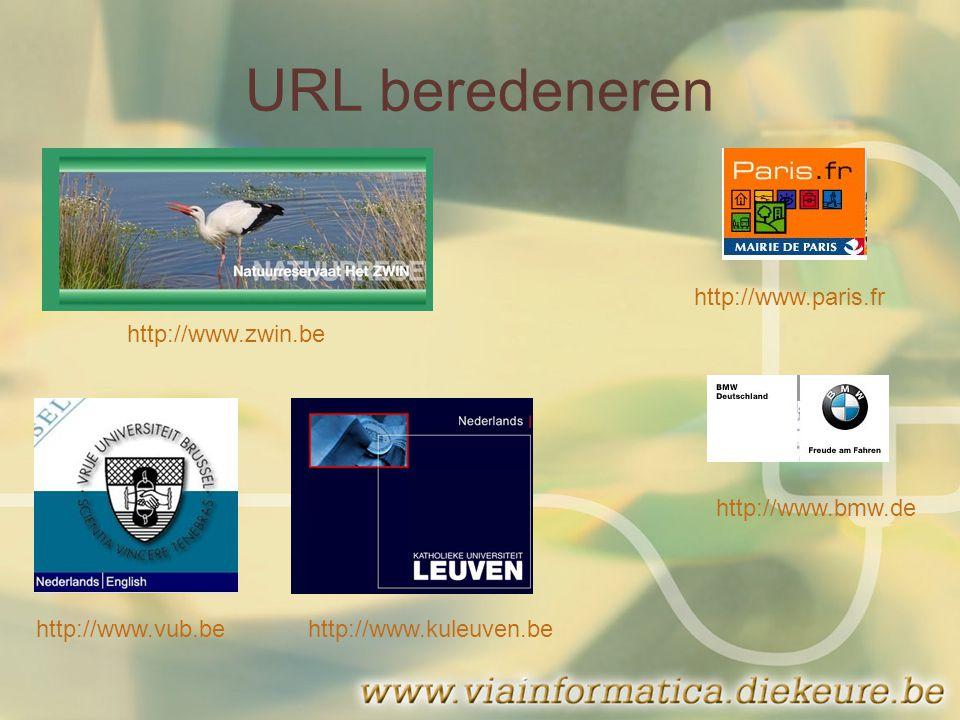 URL beredeneren http://www.zwin.be http://www.vub.behttp://www.kuleuven.be http://www.bmw.de http://www.paris.fr
