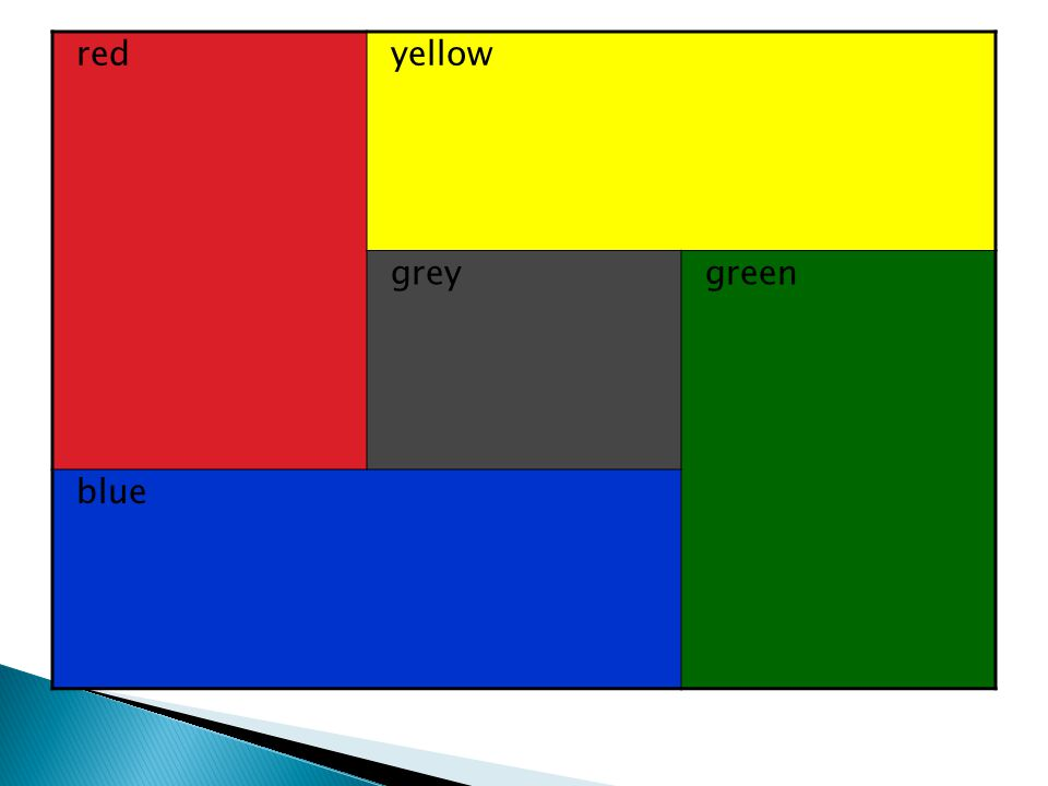 redyellow greygreen blue