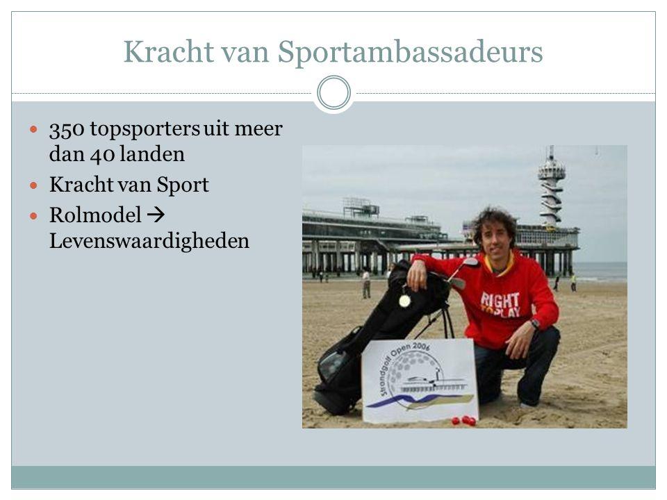 Kracht van Sportambassadeurs 350 topsporters uit meer dan 40 landen Kracht van Sport Rolmodel  Levenswaardigheden
