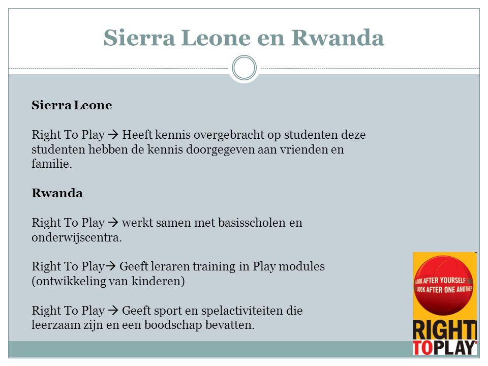 Sierra Leone Right To Play  Heeft kennis overgebracht op studenten deze studenten hebben de kennis doorgegeven aan vrienden en familie. Rwanda Right