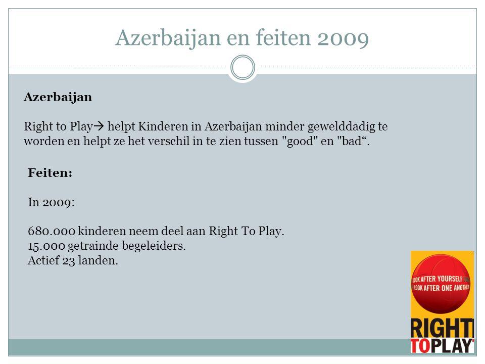 Azerbaijan en feiten 2009 Azerbaijan Right to Play  helpt Kinderen in Azerbaijan minder gewelddadig te worden en helpt ze het verschil in te zien tus