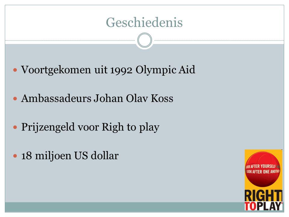Geschiedenis Voortgekomen uit 1992 Olympic Aid Ambassadeurs Johan Olav Koss Prijzengeld voor Righ to play 18 miljoen US dollar