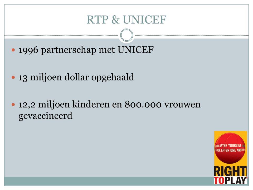 RTP & UNICEF 1996 partnerschap met UNICEF 13 miljoen dollar opgehaald 12,2 miljoen kinderen en 800.000 vrouwen gevaccineerd