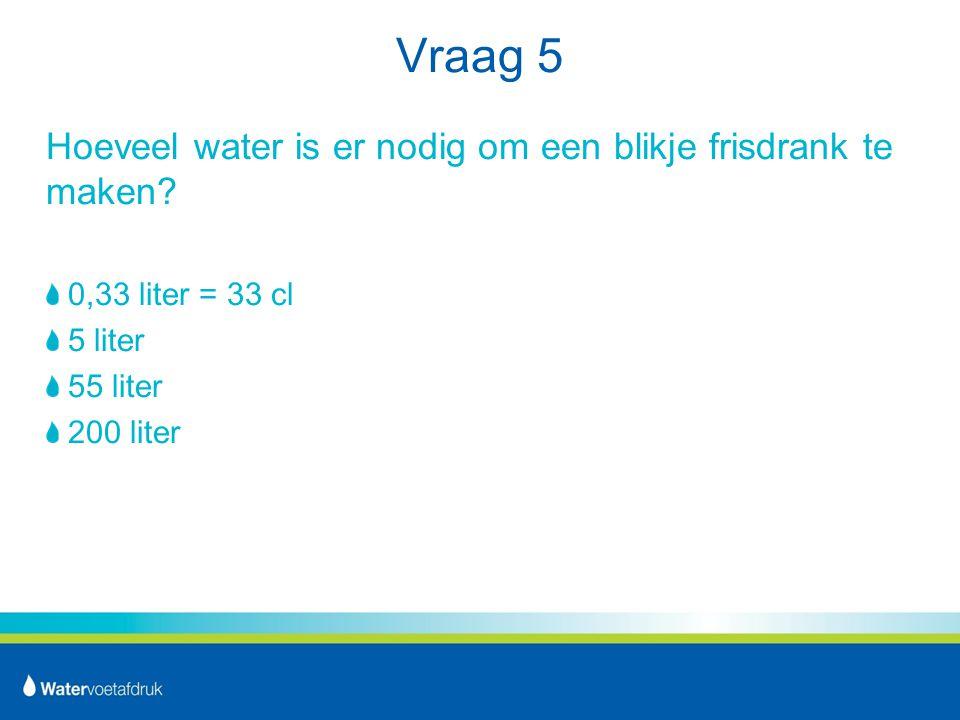 Vraag 5 Hoeveel water is er nodig om een blikje frisdrank te maken.