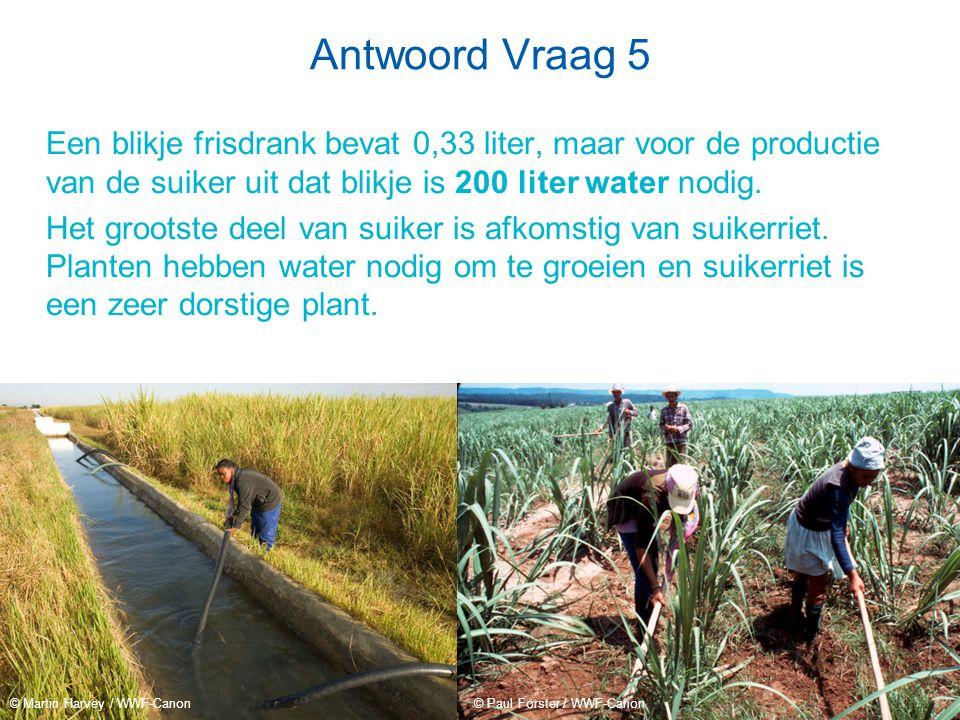 Antwoord Vraag 5 Een blikje frisdrank bevat 0,33 liter, maar voor de productie van de suiker uit dat blikje is 200 liter water nodig.