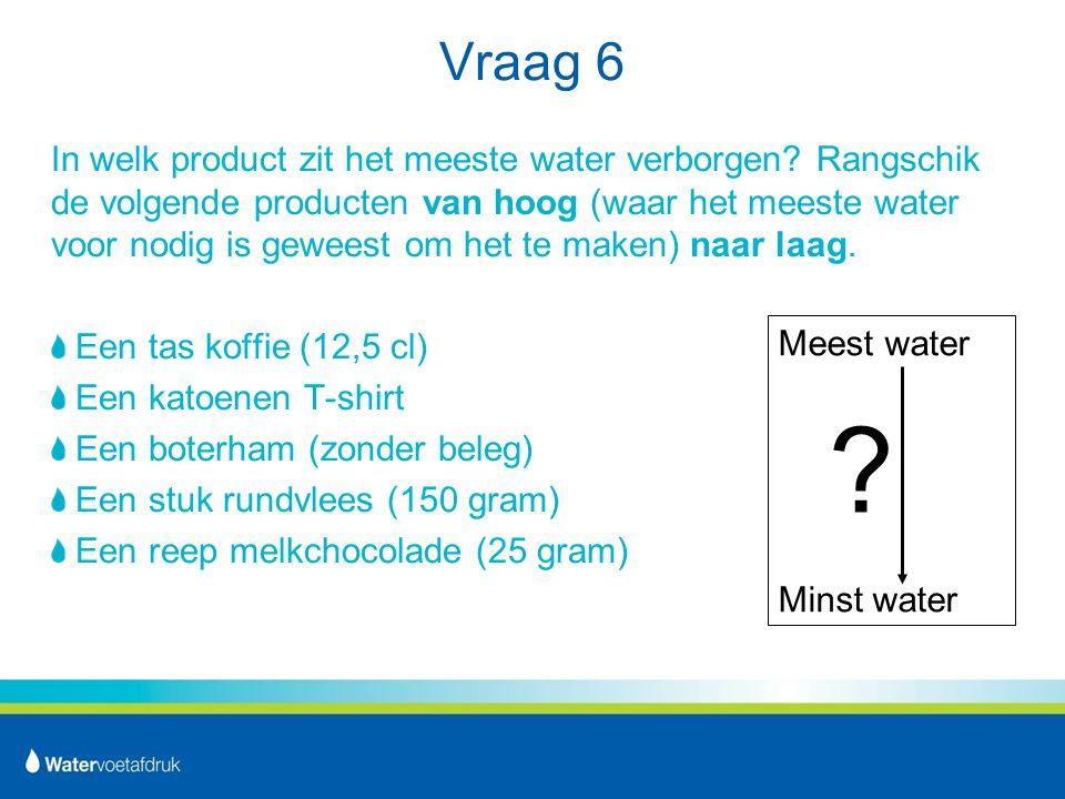 Vraag 6 In welk product zit het meeste water verborgen.