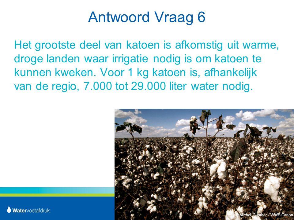 Antwoord Vraag 6 Het grootste deel van katoen is afkomstig uit warme, droge landen waar irrigatie nodig is om katoen te kunnen kweken.